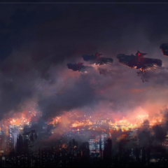 Concept art of airships above Insomnia.