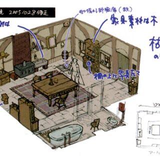 Concept art of Gillian's house.