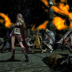Lightning fighting alongside a group of players.