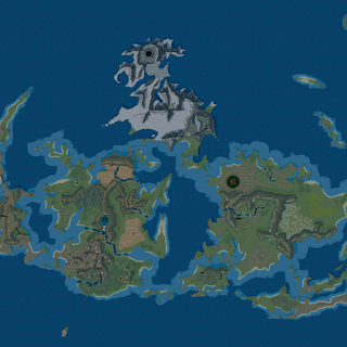 The top-down perspective of the entire World Map as it appears in-game.