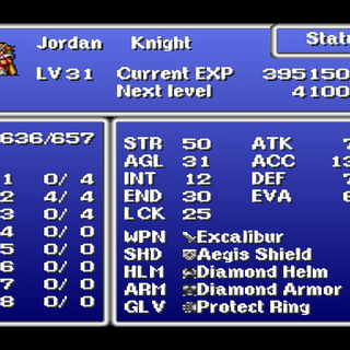 Status menu in the PSX version.