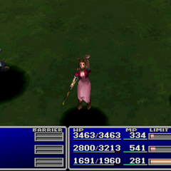 Aerith using an item on an ally in <i><a href=