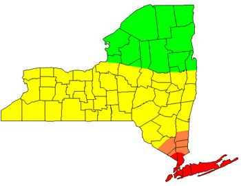 Upstate-Downstate New York Map