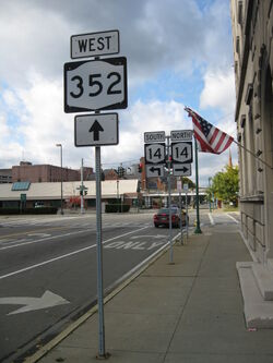 NY State Route 352 heading westbound towards Route 14 in Elmira