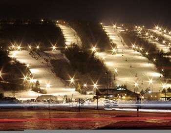 Bristol Mountain Ski Resort at night viewed from Route 64