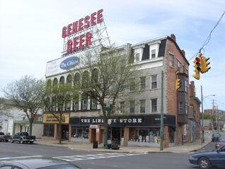 Downtown Auburn, New York Genesee Beer sign