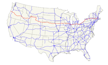 US 20 map highlighted in red