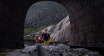 Sam looks at the old mine