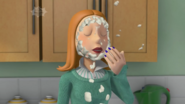 Lizzie Sparkes wipes her face