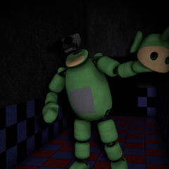Dipsy in the Tubby Hall, with no eyes.
