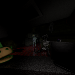 Prototype Dipsy in the middle door from the FNaTL 3 beta.
