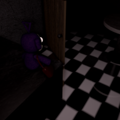 The Tinky Winky plush in the Kitchen from the Dream Night.