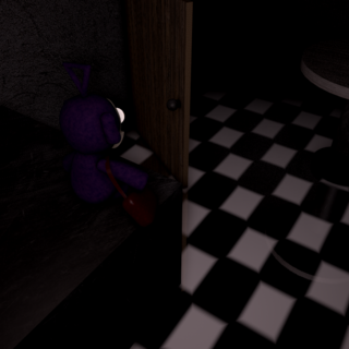 The Tinky Winky plush in the Kitchen, from the Dream Night.