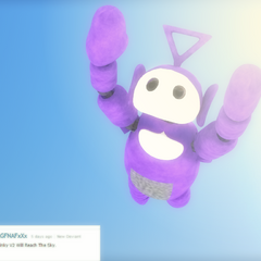 An image of Tinky Winky flying from Critolious's DeviantArt.