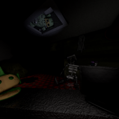 Prototype Dipsy in the ceiling vent, from the FNaTL 3 beta.