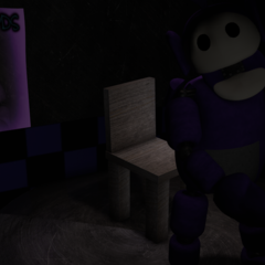 Tinky Winky activated in the Room Of Stories, with no eyes.