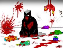 5966 - artist phantomfluffy blood carnage death gore howler fluffy legend kill monster murder smarty friend dies terror violence