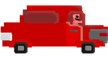 Red guy car