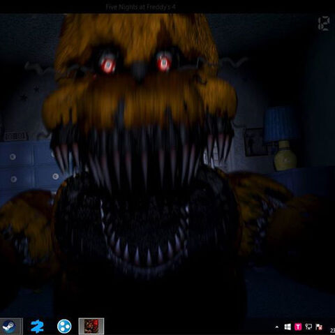 Fredbear's true form while jumpscaring the player.