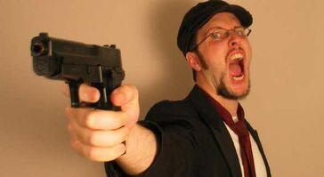 Nostalgia critic with his gun
