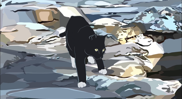 File:A cat from Waking Life.png