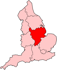 Map of the East Midlands