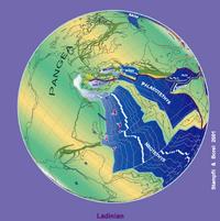 230 Ma plate tectonic reconstruction