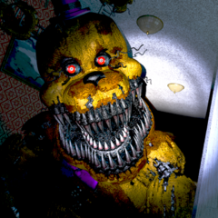 Nightmare Fredbear getting closer in the Left Hall, brightened.
