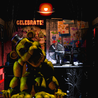 Golden Freddy in The Office, brightened.