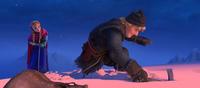 Kristoff digging snow anchor