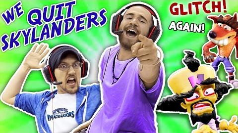 WE QUIT SKYLANDERS w DALLAS the PIZZA GUY! IMAGINATORS GLITCHES AGAIN!! Crash Bandicoot Level