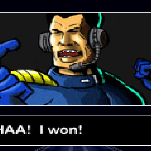John Tanaka's victory screen from F-Zero X. Taken using Project 64.