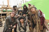 Galavant A New Season BTS Pirates Martin Collins, Adam Loxley, Hugh Bonneville, Daniel Hoffman-Gill