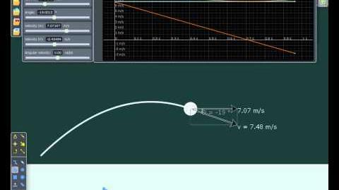 Trajectory of a projectile in 2D simulation
