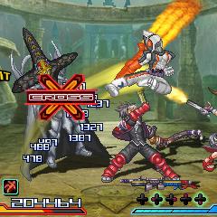 Reiji Arisu and Xiaomu from <i>Namco × Capcom</i>, along with solo unit Kamen Rider Fourze, fighting the Black Cross King from <i>Super Sentai</i>