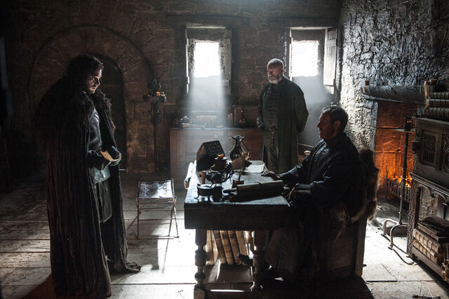 File:Stannis Baratheon in Castle Black with Jon Snow.jpg
