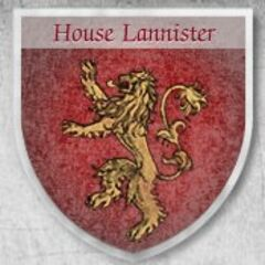 A shield emblazoned with the sigil of House Lannister from the HBO viewer's guide.