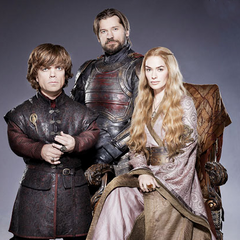 Tyrion, Jaime, and Cersei Lannister in a promotional image from Entertainment Weekly.