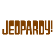 Jeopardy! Logo in White Background in Brown Letters