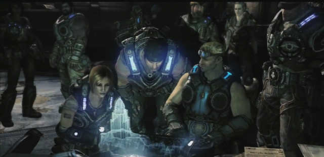 File:Sam, Dom, Baird, Marcus, Dizzy, Cole, Hoffman, and Bernie looking at the disc.png