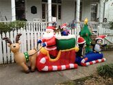 Gemmy inflatable reindeer pulling 2 sleds at once
