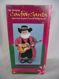 Hip swinging cowboy santa's box