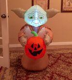 Gemmy Prototype Halloween Yoda with Pumpkin Inflatable Airblown