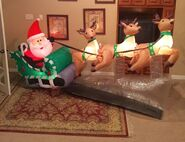 Gemmy Prototype Christmas Santa and Reindeer Flying Inflatable Airblown