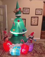 Gemmy Prototype Christmas Woodland Critters Scene Inflatable Airblown