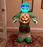 Gemmy Prototype Halloween Ninja Turtle with Pumpkin Inflatable Airblown