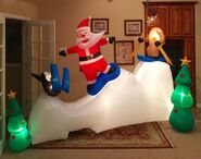 Gemmy Prototype Christmas Snowboarding and Skiing Scene Inflatable Airblown