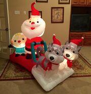 Gemmy Prototype Christmas Santa's Dog Sled Inflatable Airblown