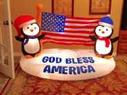 Gemmy Prototype Christmas God Bless America Penguins Inflatable Airblown