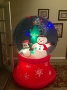 Gemmy Prototype Christmas Penguin and Snowman Snowglobe Inflatable Airblown